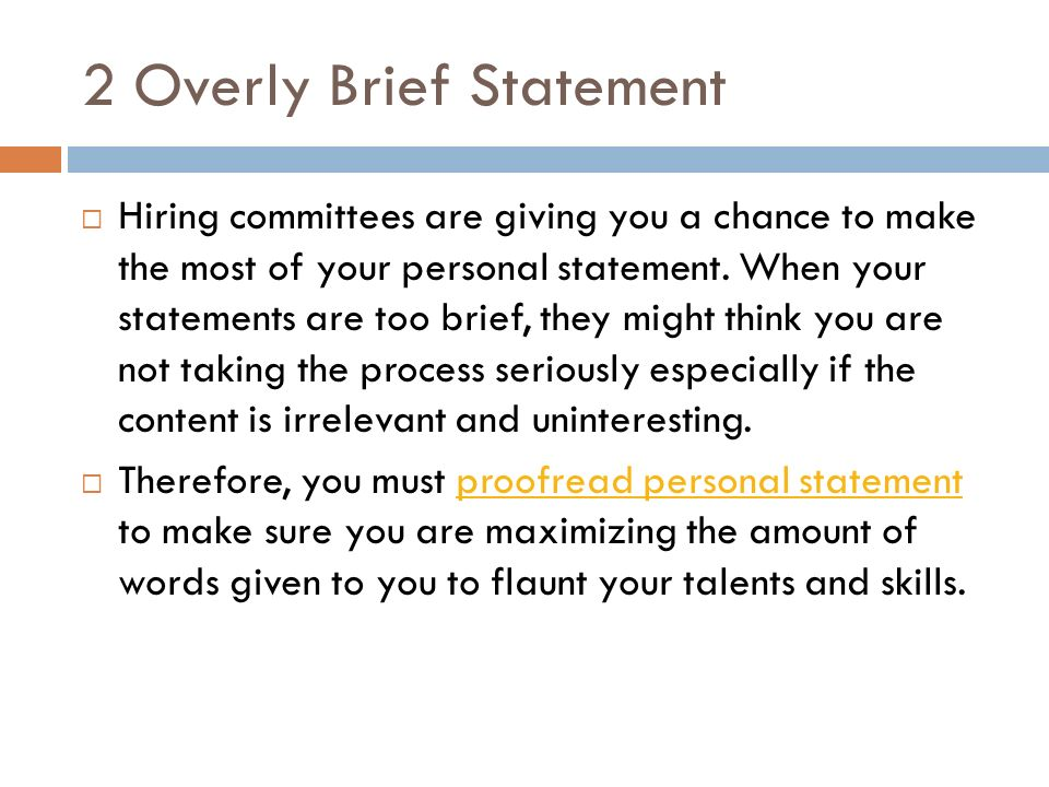how to write a brief personal statement