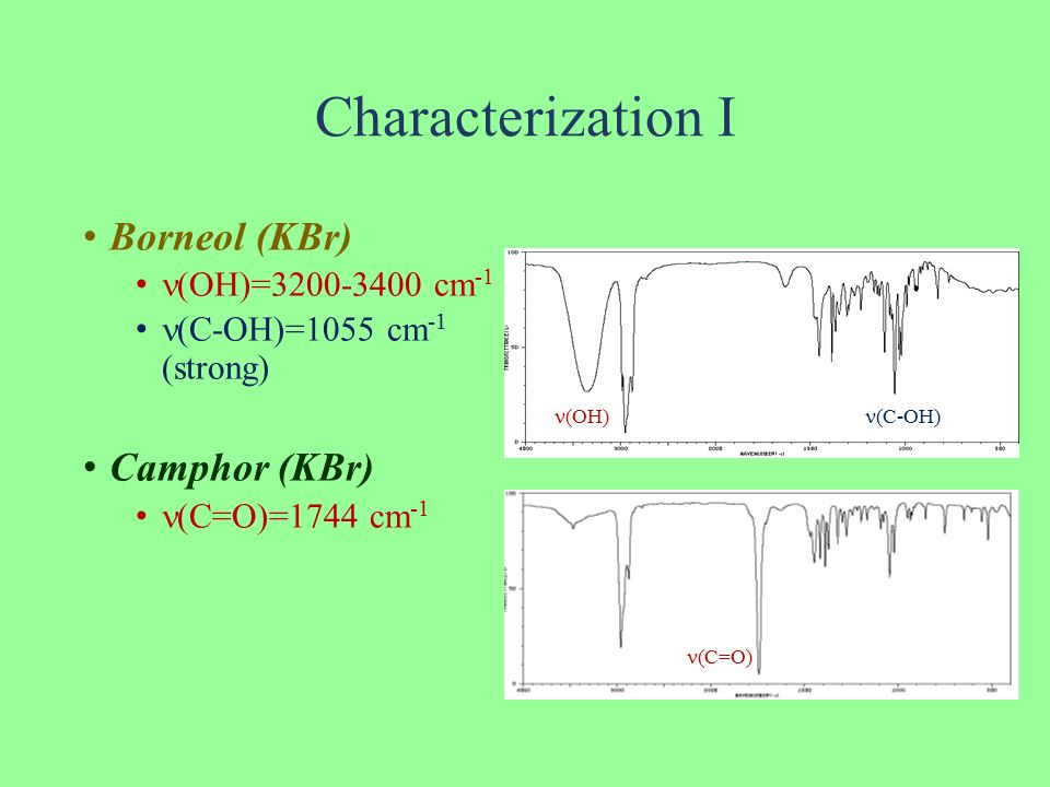 oxidation of borneol to camphor Hypochlorite oxidation of endo-borneol to camphor used to oxidize emdo-borneol (an alcohol) to camphor (a ketone) the product would then be purified by sublimation and then be analyzed by infrared spectroscopy and melting point test procedure and observationsplease refer to the lab manual and the carbon copy attached.