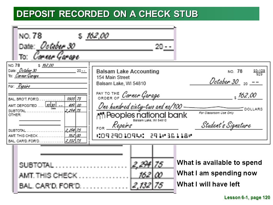 what is a check stub