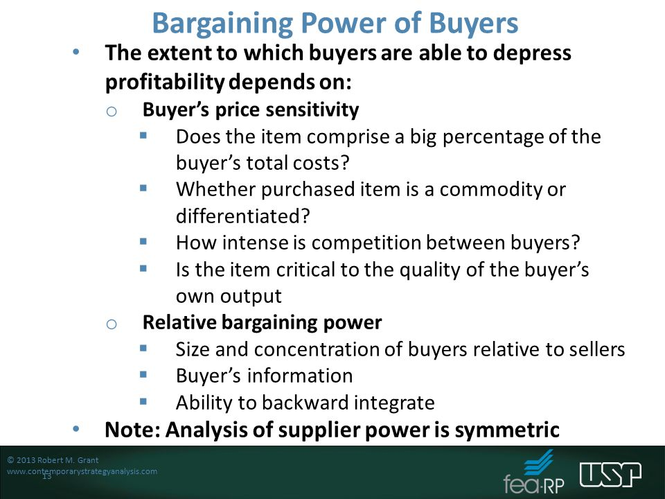bargaining power of buyers Bargaining power of buyers buyers have the power to demand lower price or  higher product quality from industry producers when their.
