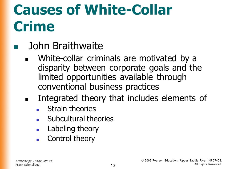 white collar crime the effects and Introduction when it comes to talk about crime, a lot of people will relate to the street crimes including burglary, robbery, and assault however, more and more people complain that an increasing number of white-collar crimes exits in our society nowadays, such as false advertising, tax evasion, and insider stock trading.