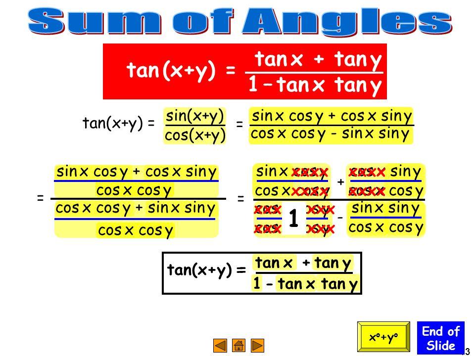 Sum of Angles 1 tan x + tan y tan (x+y) = 1 – tan x tan y sin(x+y)