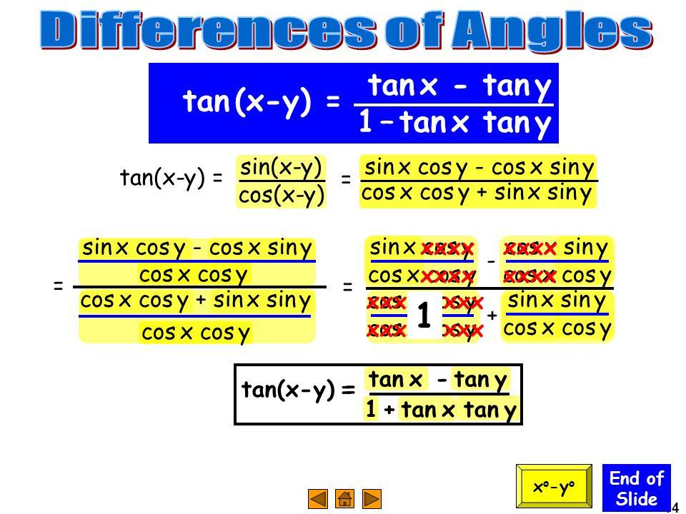 Differences of Angles 1 tan x - tan y tan (x-y) = 1 – tan x tan y