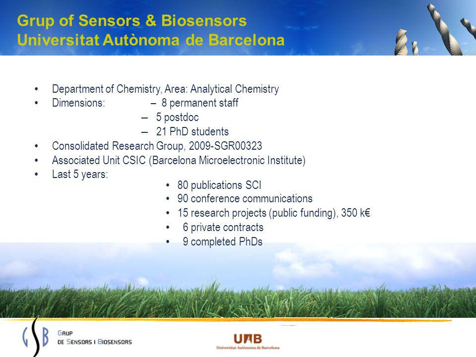 Grup of Sensors & Biosensors Universitat Autònoma de Barcelona