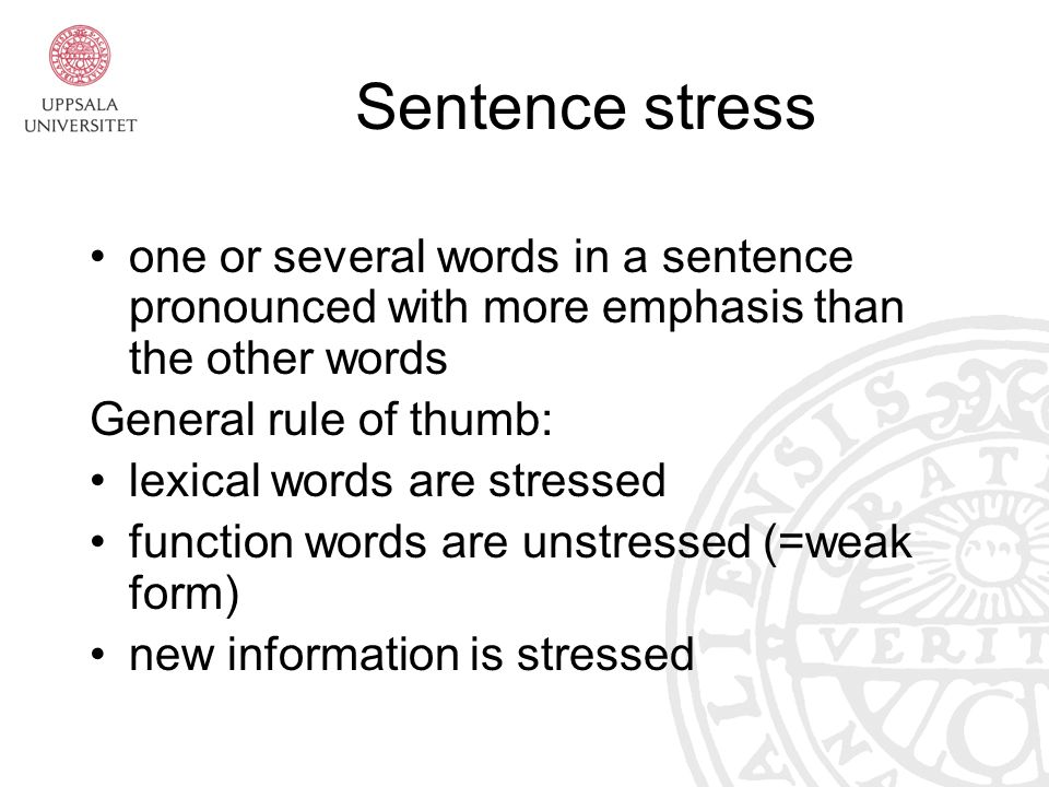 how to find stressed words in a sentence