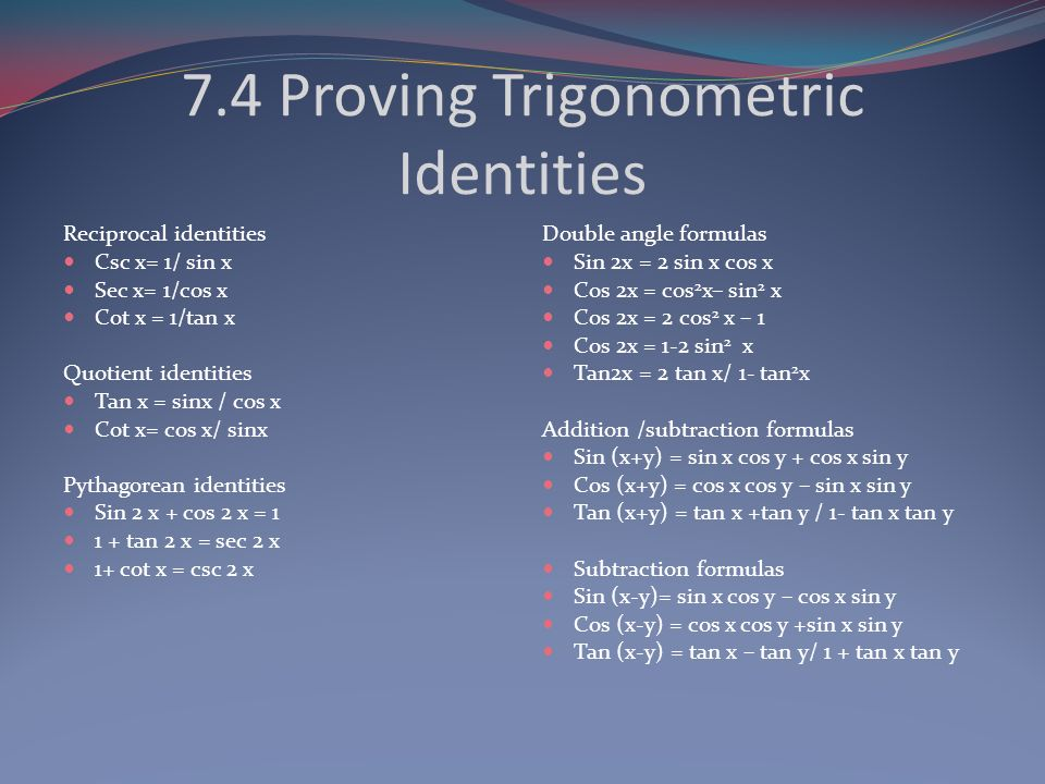 7.4 Proving Trigonometric Identities