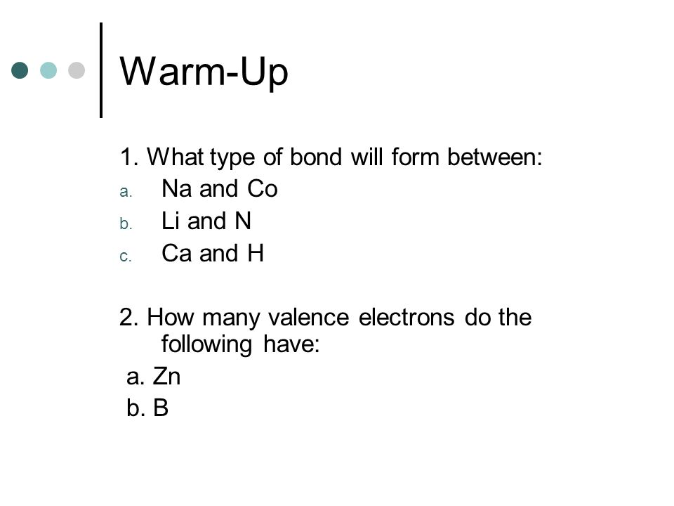 What Type Of Bond Will Form Between: Na And Co