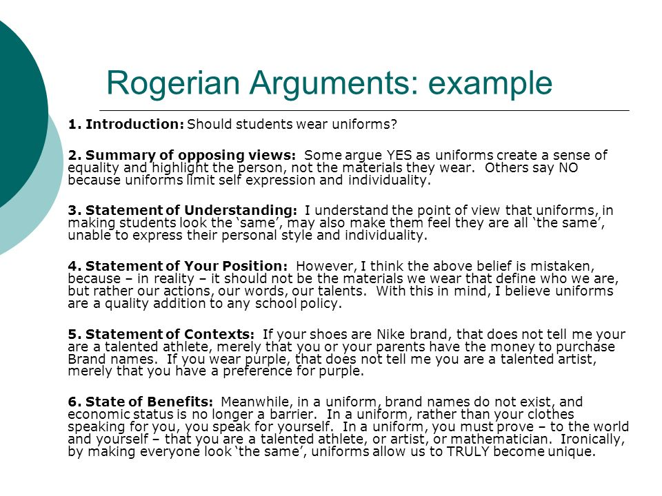 Sample Rogerian Argument