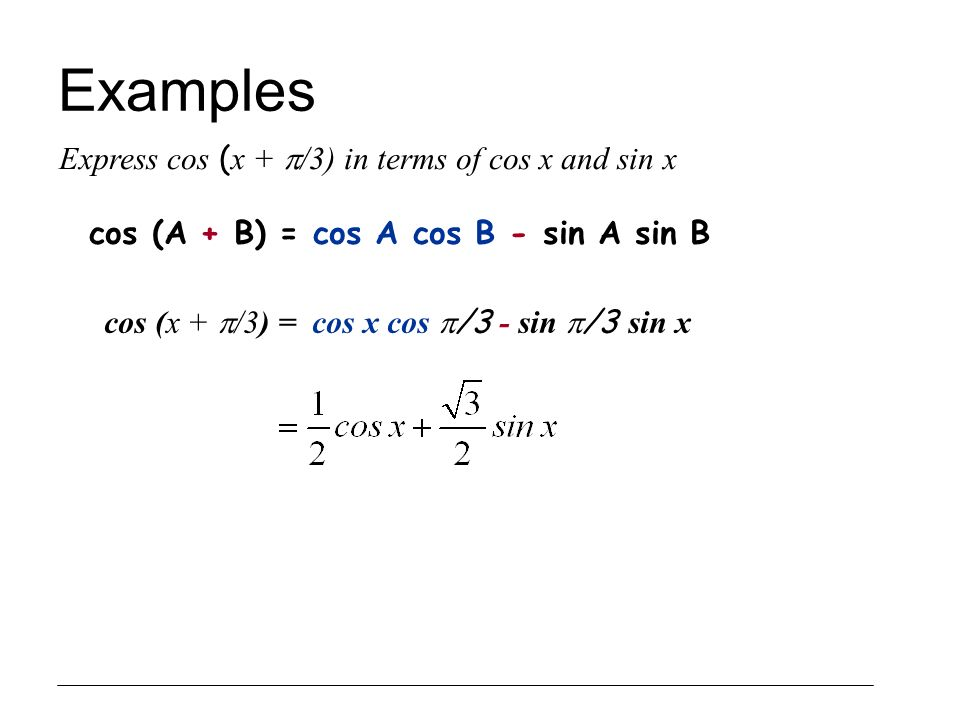 Examples Express cos (x + /3) in terms of cos x and sin x