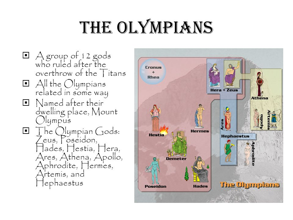 a look at the group of 12 gods who ruled after the overthrow of the titans the olympians