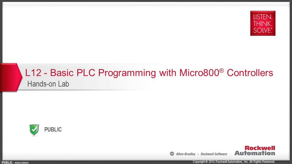 L12 Basic Plc Programming With Micro800 Controllers