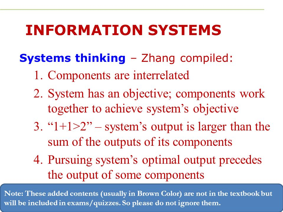 components of information systems Defining information systems as work systems:  a group of components that interact to produce information [the five components of an information system are.