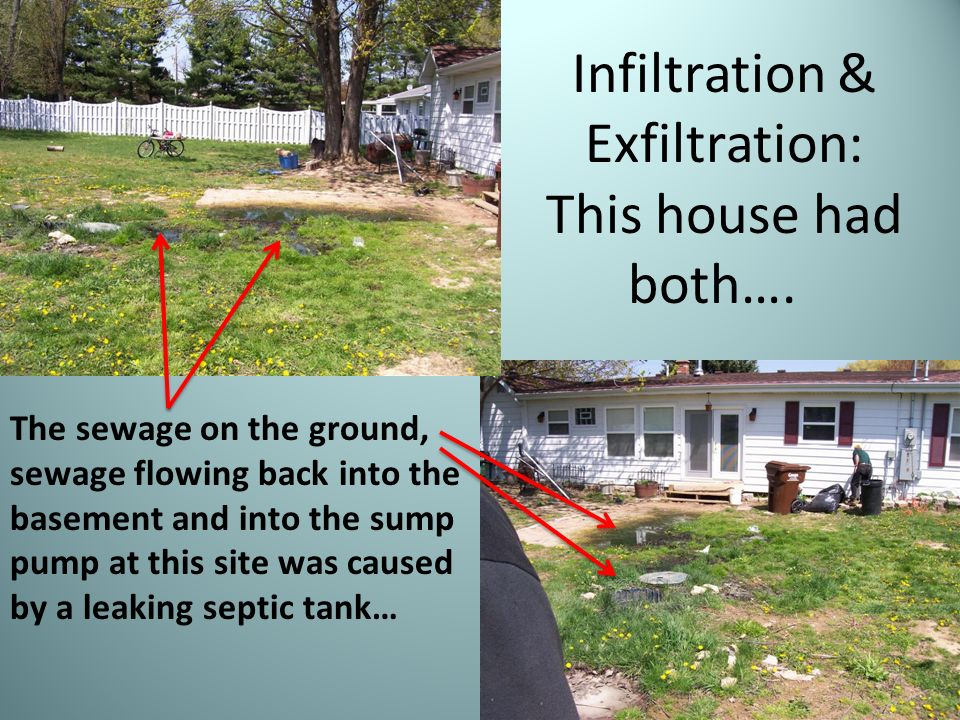 Lets think tank septic tank purpose function ppt video for Sewage backing up into house