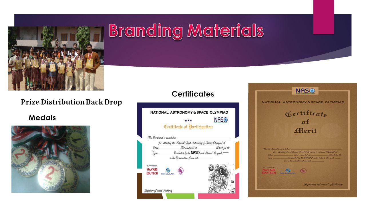 Branding Materials Certificates Prize Distribution Back Drop Medals