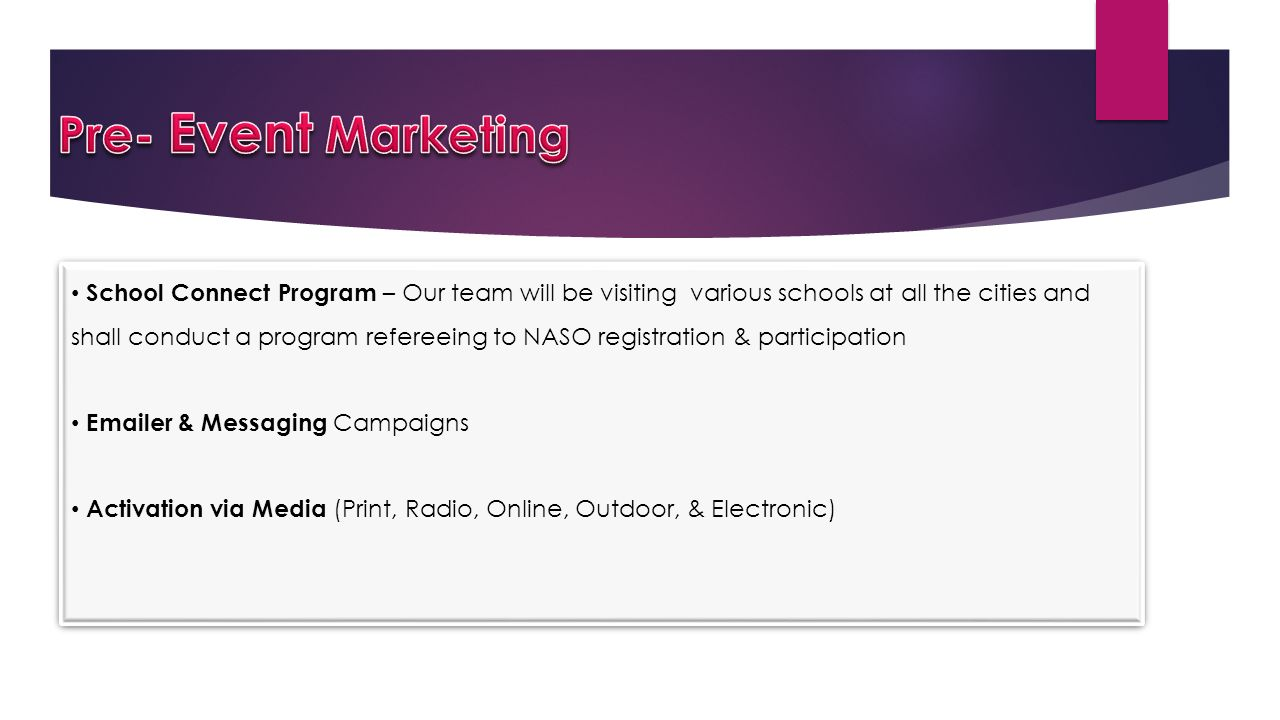 Pre- Event Marketing