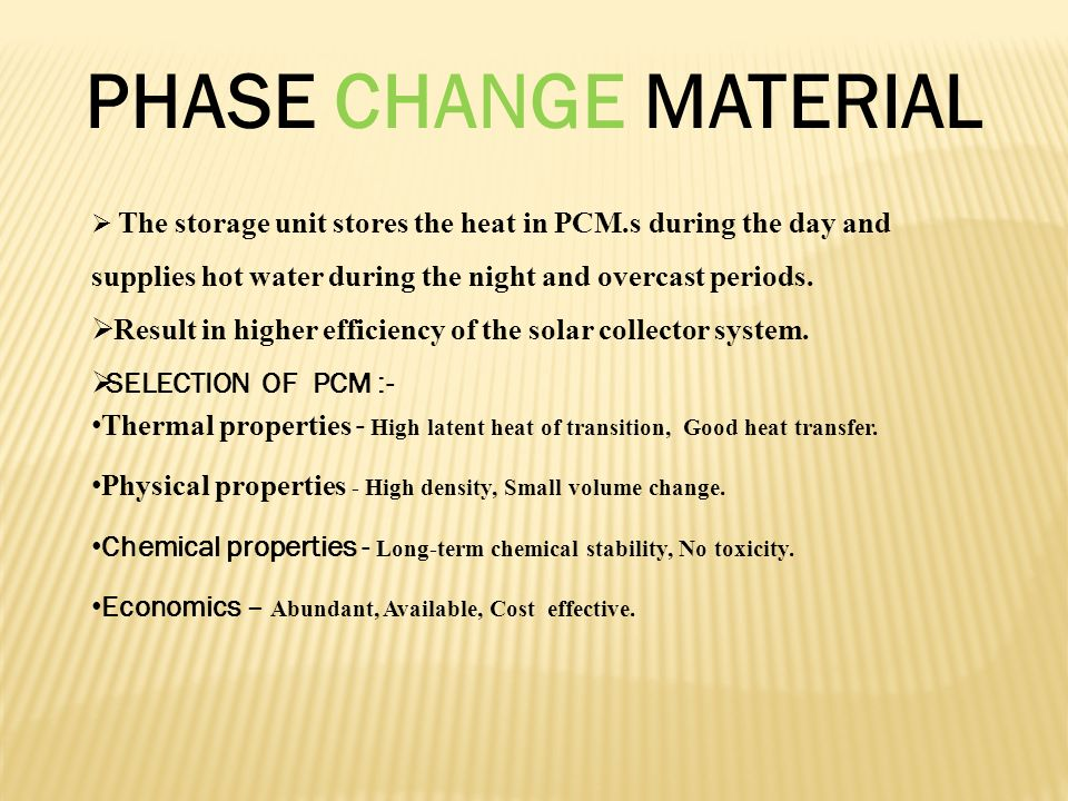 Solar Water Heating System With Phase Change Material