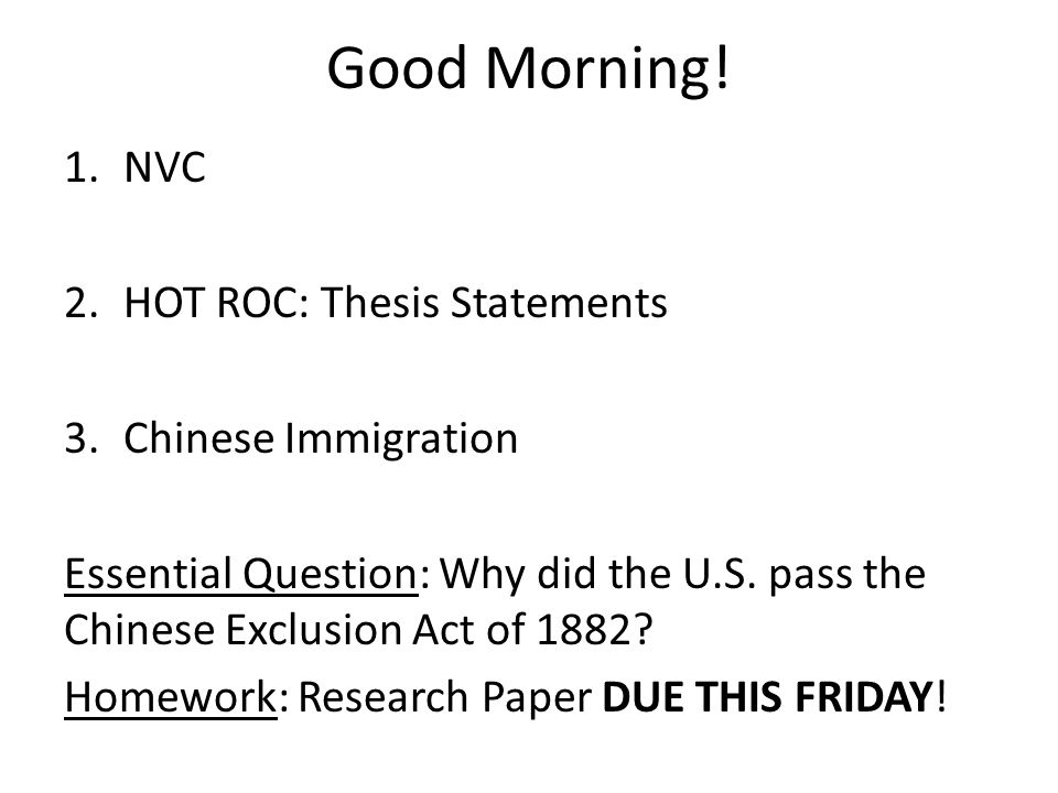 good thesis statements on immigration Here are some examples of thesis statement about illegal immigration: illegal immigration is a function of an increasingly globalized world that promotes movement of people, goods and knowledge across national boundaries, and thus, must be encouraged rather than condemned.