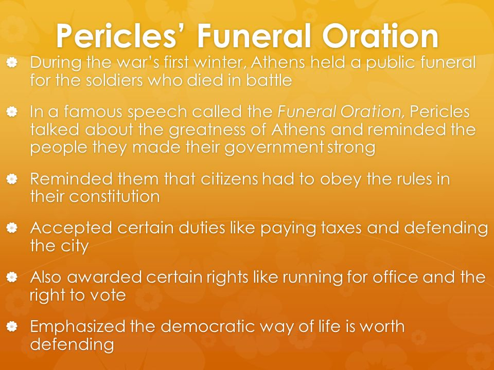 Pericles Funeral Speech Analysis Essay