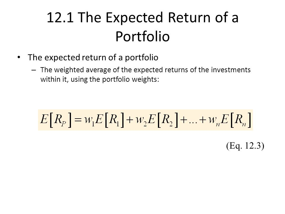 how to calculate expected return of a portfolio