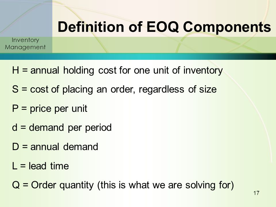 what are the major components of inventory carrying cost An entity may be willing to tolerate a high aggregate ordering cost if the result is a reduction in its total inventory carrying cost this relationship occurs when a business orders raw materials and merchandise only as needed, so that more orders are placed but there is little inventory kept on hand a firm must.