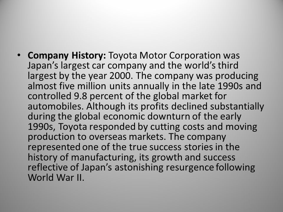 case study on toyota the rise of the global corporation