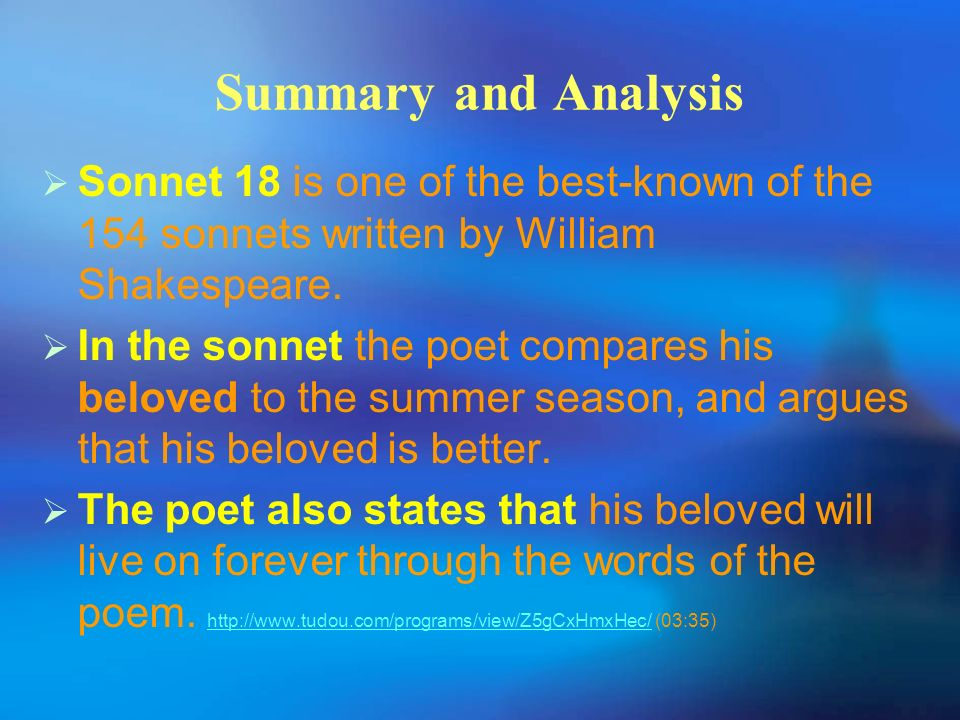 sonnet 18 william shakespeare analysis Sonnet #18 - shall i compare thee to a summer's day - by william shakespeare-  analysis sonnet #18 - shall i compare thee to a summer's.
