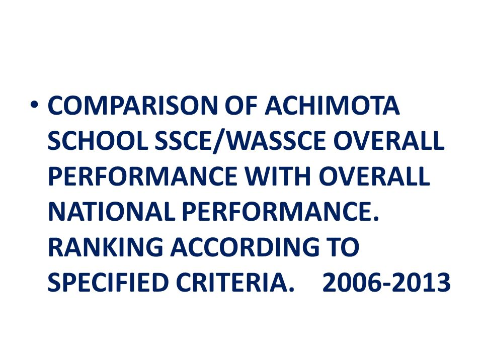 COMPARISON OF ACHIMOTA SCHOOL SSCE/WASSCE OVERALL PERFORMANCE WITH OVERALL NATIONAL PERFORMANCE.
