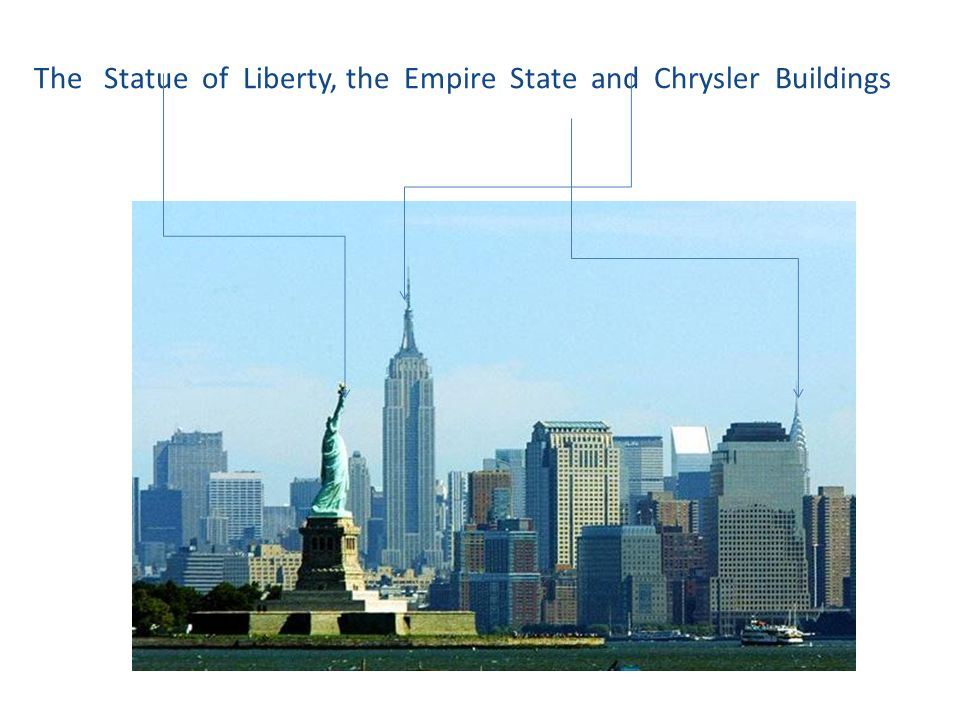 The Statue of Liberty, the Empire State and Chrysler Buildings