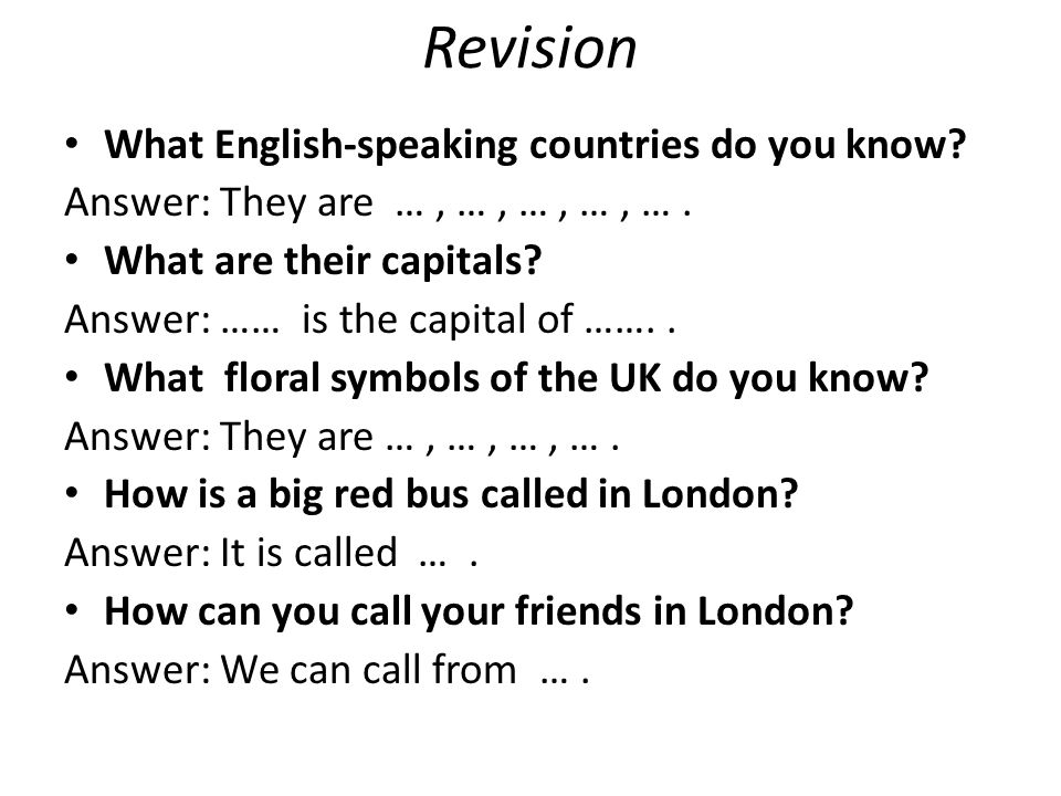 Revision What English-speaking countries do you know