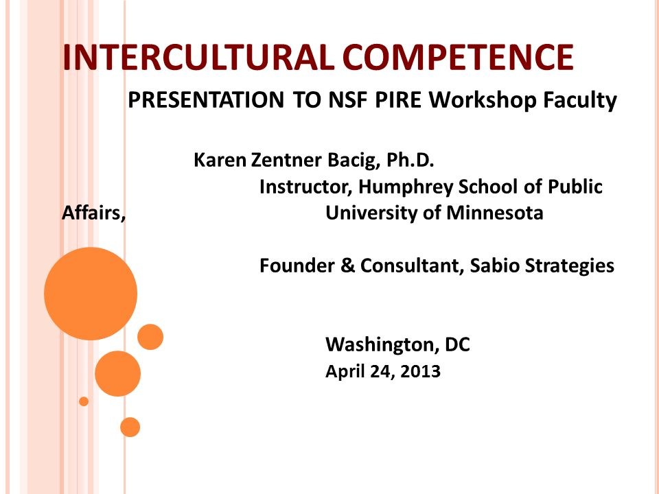 intercultural competence presentation to nsf pire workshop faculty