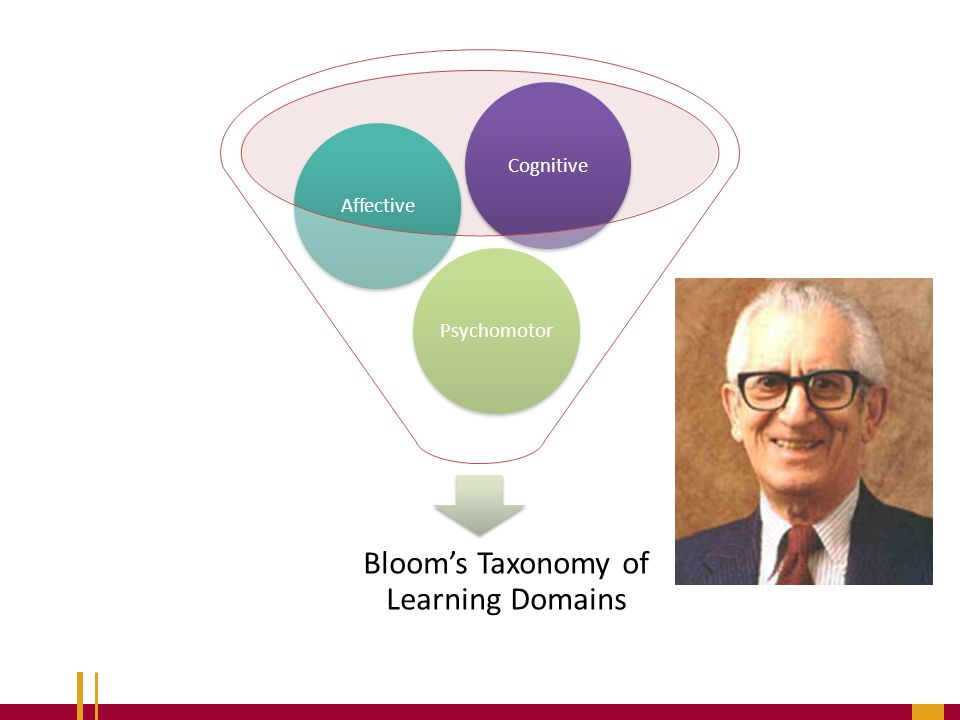 affective domain versus cognitive domai Bloom`s taxonomy of learning domains include the cognitive (knowledge),  affective  as cognitive domain (knowledge), psychomotor domain (skills) and  affective  application: the ability to utilize an abstraction or to use knowledge in  a new.