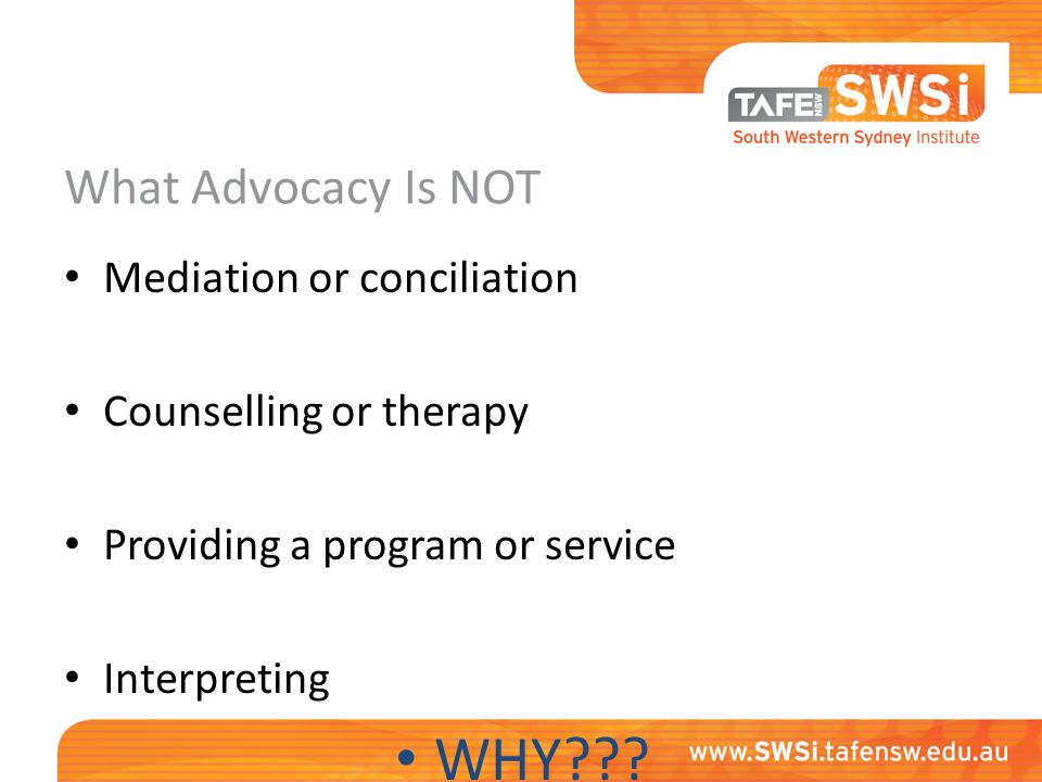 advocacy and mediation in human services Free essay: mediation and advocacy literature review bshs/441 february 11, 2013 melinda barker, lmft introduction in the human services field there is a.