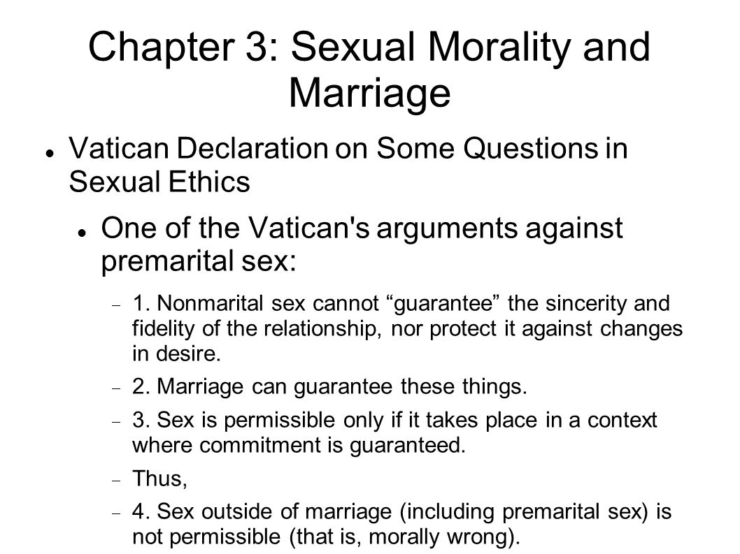 Arguments in favor of premarital sex