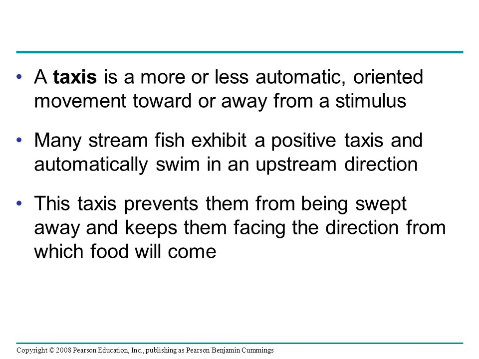 A taxis is a more or less automatic, oriented movement toward or away from a stimulus