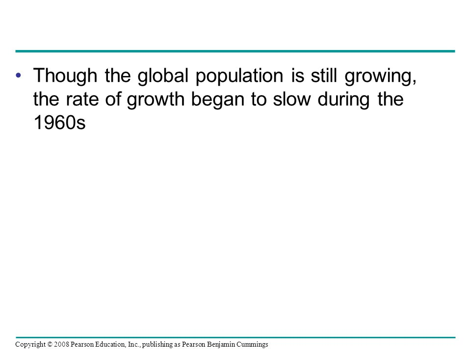 Though the global population is still growing, the rate of growth began to slow during the 1960s