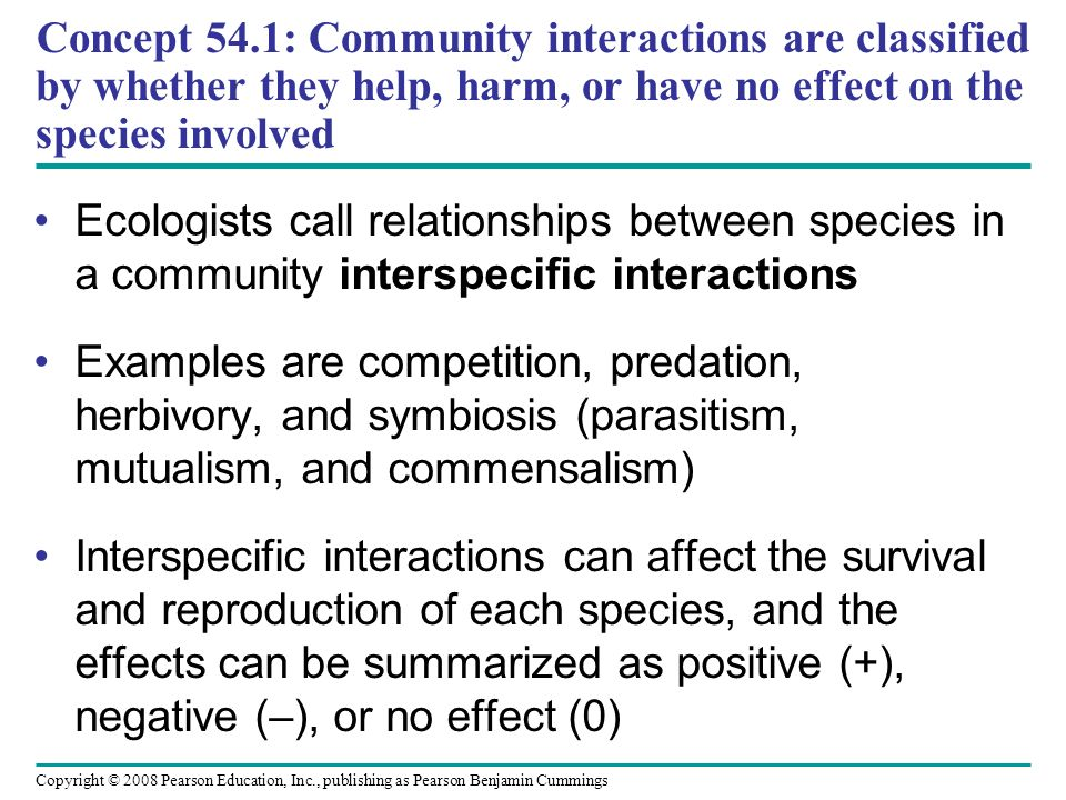 Concept 54.1: Community interactions are classified by whether they help, harm, or have no effect on the species involved