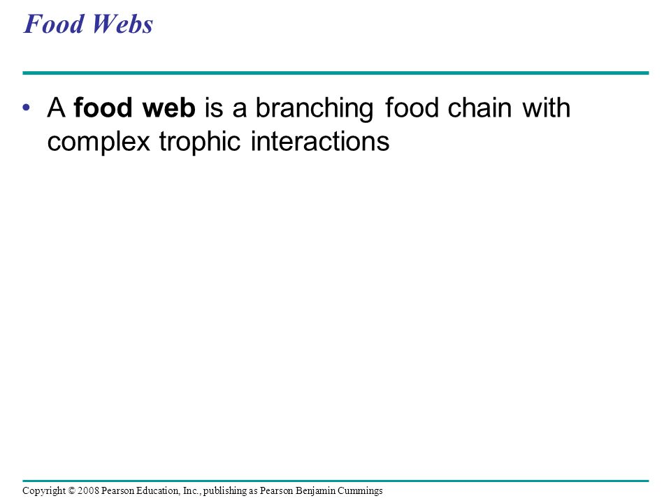 Food Webs A food web is a branching food chain with complex trophic interactions