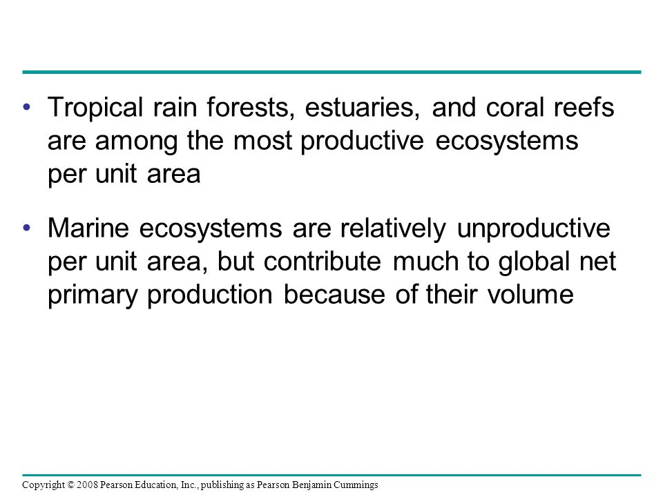 Tropical rain forests, estuaries, and coral reefs are among the most productive ecosystems per unit area
