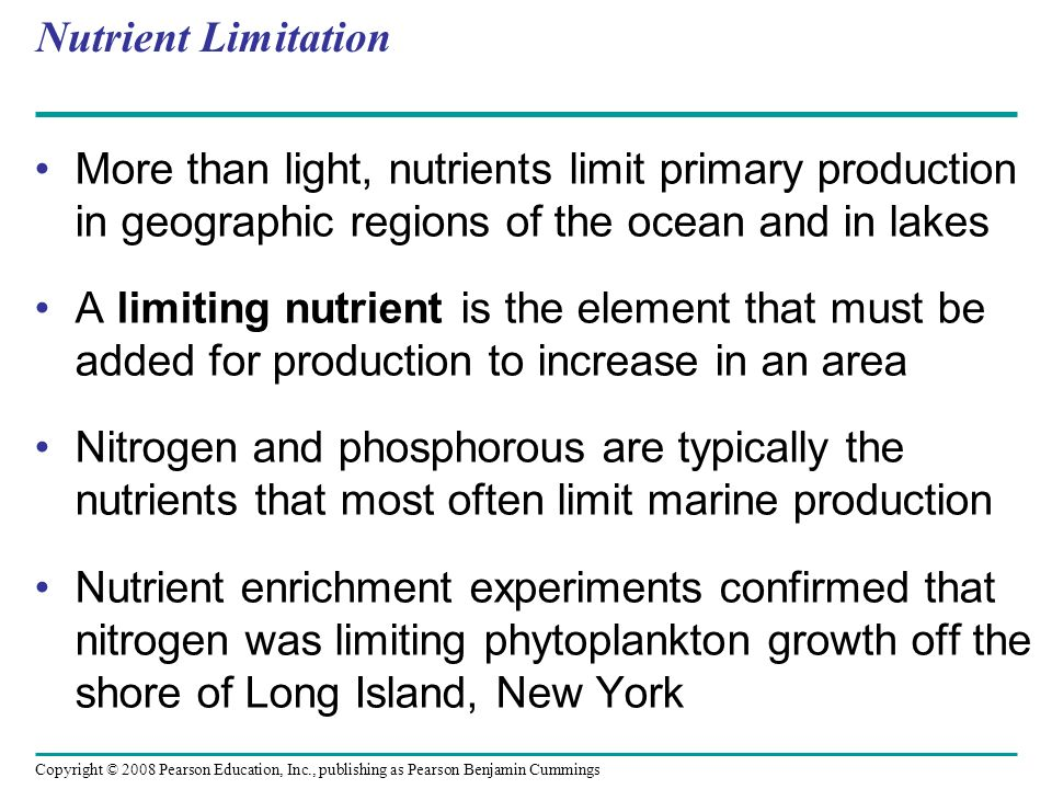 Nutrient Limitation More than light, nutrients limit primary production in geographic regions of the ocean and in lakes.