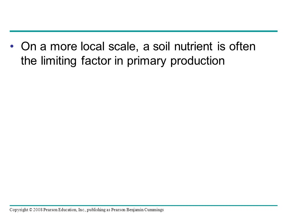 On a more local scale, a soil nutrient is often the limiting factor in primary production