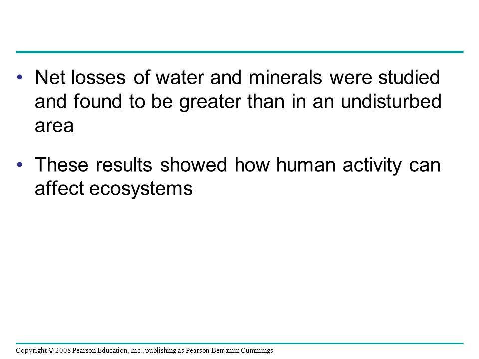 Net losses of water and minerals were studied and found to be greater than in an undisturbed area