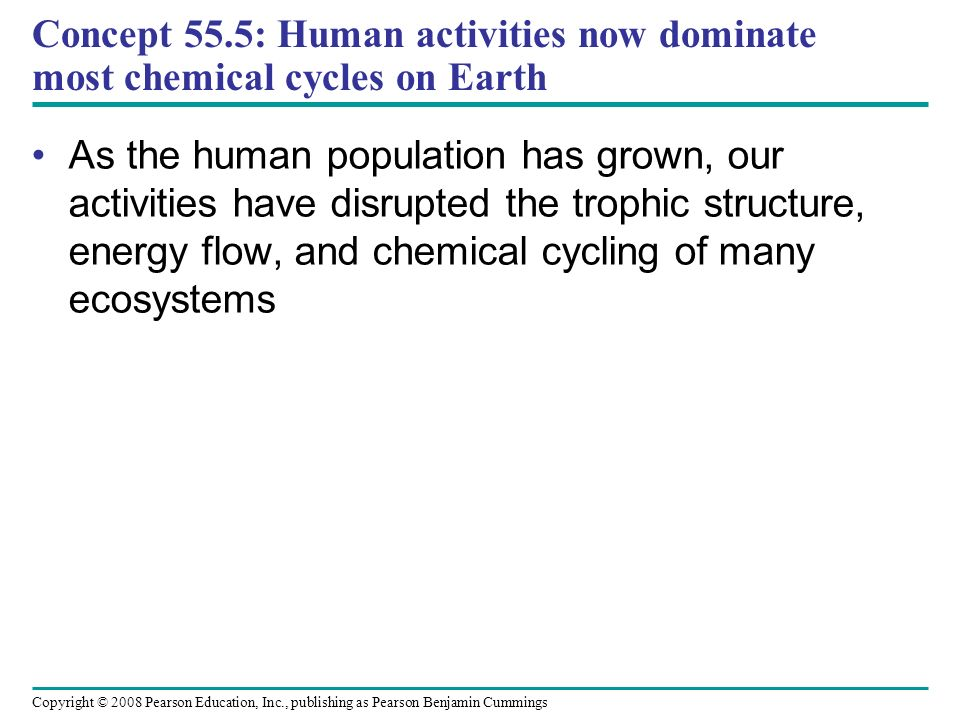 Concept 55.5: Human activities now dominate most chemical cycles on Earth