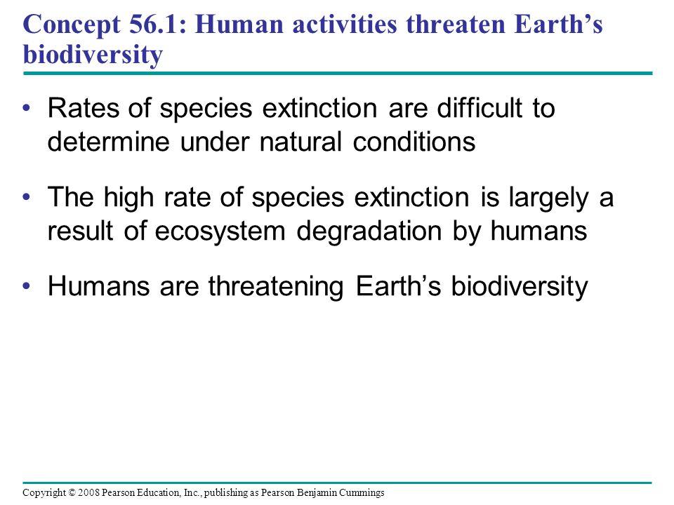 Concept 56.1: Human activities threaten Earth's biodiversity