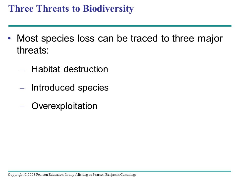 Three Threats to Biodiversity