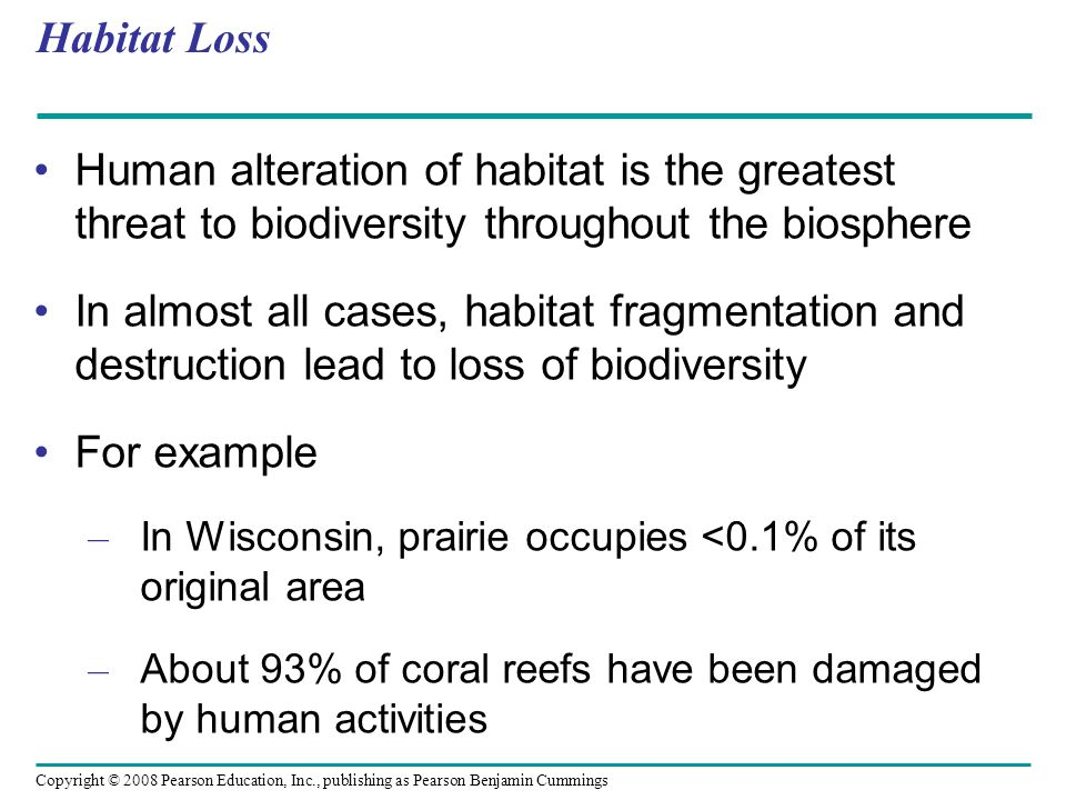 Habitat Loss Human alteration of habitat is the greatest threat to biodiversity throughout the biosphere.
