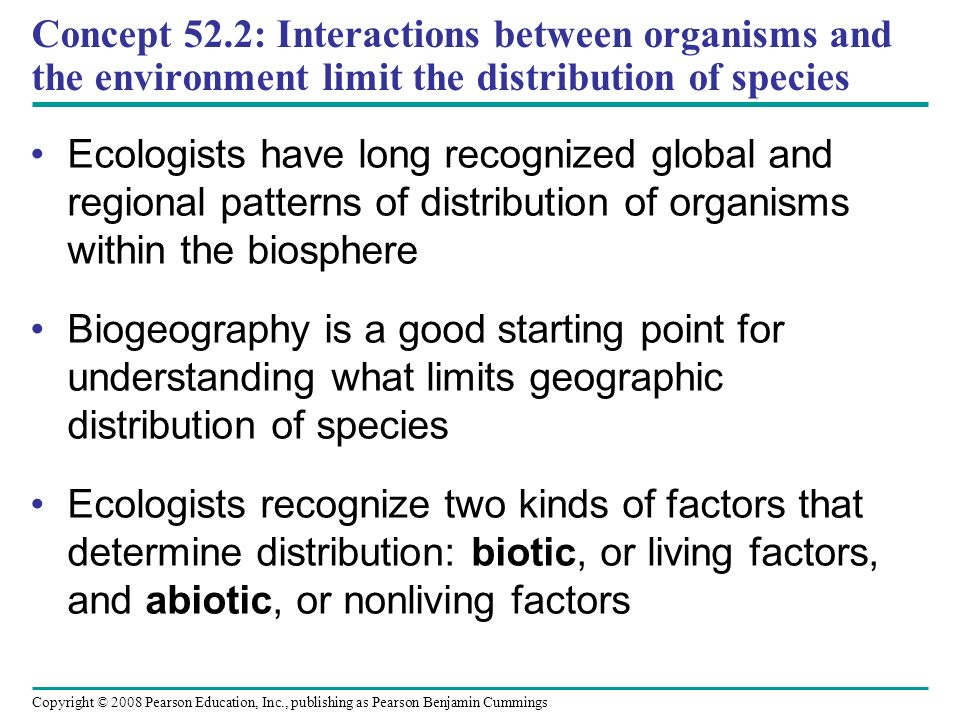Concept 52.2: Interactions between organisms and the environment limit the distribution of species