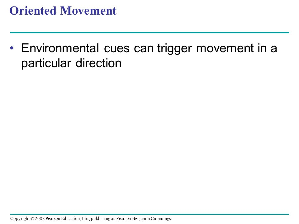 Oriented Movement Environmental cues can trigger movement in a particular direction