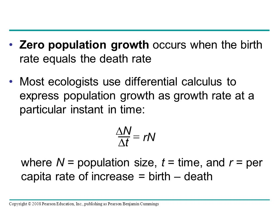 Zero population growth occurs when the birth rate equals the death rate