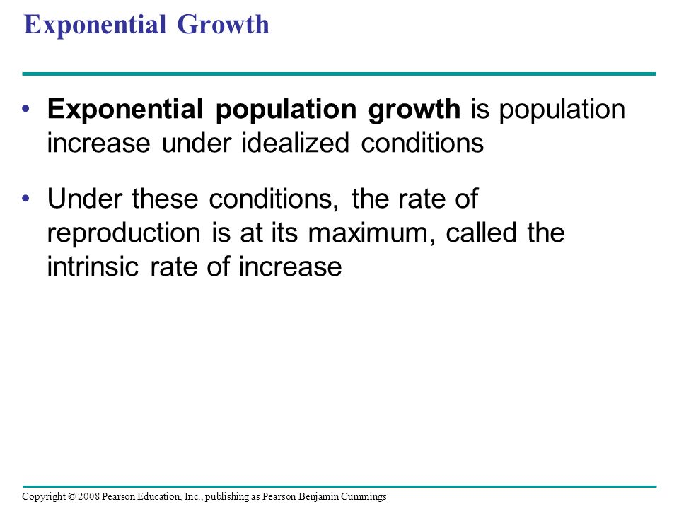 Exponential Growth Exponential population growth is population increase under idealized conditions.