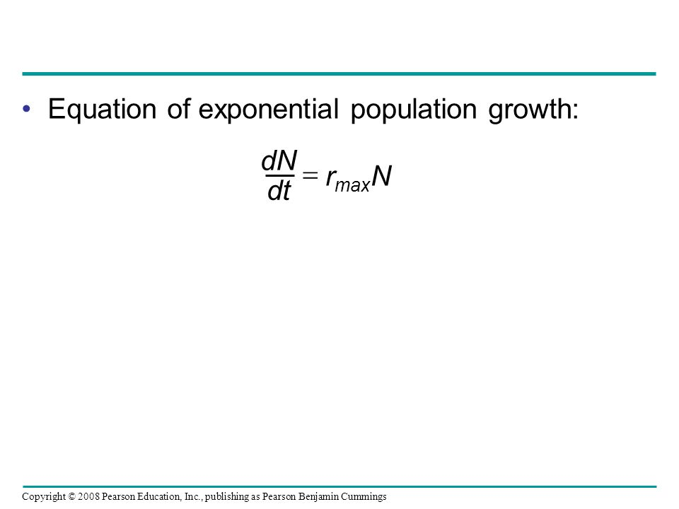Equation of exponential population growth: